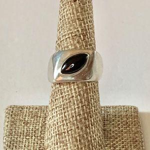 Vintage Modernist Silver Ring w/ Onyx Sz 6.5